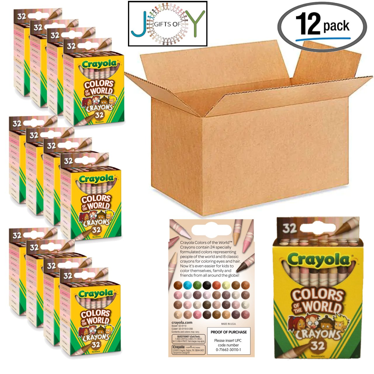 Multicultural Crayons Bulk, 12 Crayon Packs with 32ct Assorted Colors of World, Classroom set with EXCLUSIVE GiftsOfJoy coloring sheets